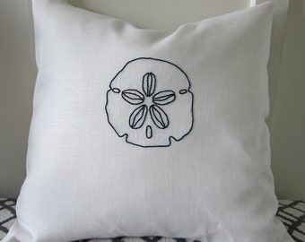 Hand Embroidered Navy Blue Sand Dollar on White 100% Linen Pillow Cover - 18 x 18 Inches - Beach Decor