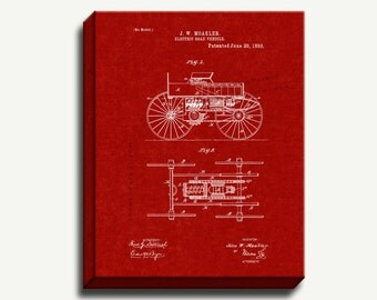 Canvas Patent Print - Electric Road Vehicle Gallery Wrapped Canvas Poster