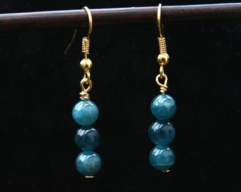 Earrings. A pair of rare Blue Apatite Gold plated dangle earrings 40mm .