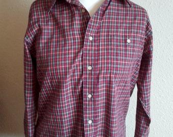Vintage 80's Gant Classic  Robinsons California Men's Long Sleeve red plaid button up dress shirt