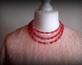 Vintage 50's West German Orange Opal glass Triple strand necklace