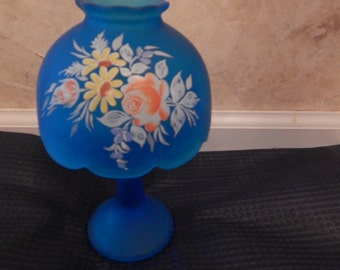 Westmoreland Blue Glass Satin Candle Holder