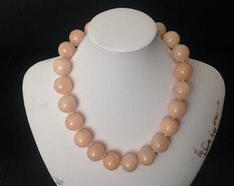 Peach Adventurine Round 18mm Natural Gemstone, #15 Japanese Glass Seed Beads Necklace Handmade