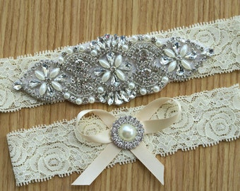 lace garter style ,Ivory Garter sets, Wedding garter ,Bridal garter sets,Toss garters , with Pearl Crystal Rhinestone,vintage lace WD33