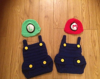 Baby Super mario and luigi Crochet Knit Costume Photo Photography Prop Outfits