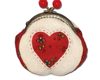 Heart Coin Purse, Metal Purse Frame, red heart, reverse appliqué, handmade, Mother's Day, Valentine's Day