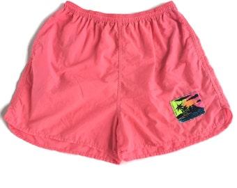 Vintage 90's Neon Pink Swim Trunks