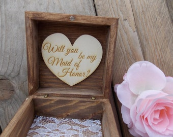 wooden box maid of honor-wedding/gift/ring/wedding accessoire