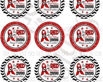 "1"" Digital Bottle Cap Sheet **INSTANT DOWNLOAD** Back To School Red Ribbon Week"