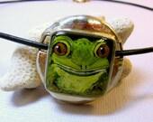 Frog Necklace, Green Frog Pendant, Tree Frog Necklace, Frog Face Pendant, Garden Frog Jewelry, Frog Portrait, Resin Frog Pendant