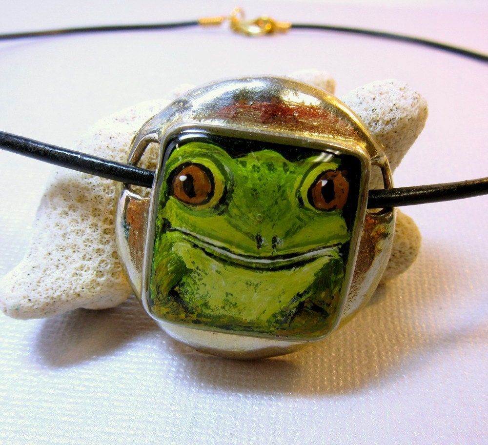 frog necklace green frog pendant tree frog necklace frog