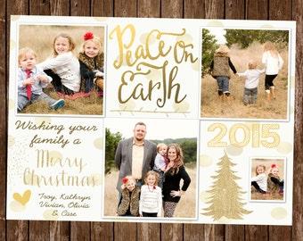 Christmas Card / Holiday Card / Chrismas Photo Card / Digital Christmas Card / White and Gold Christmas Card / White and Gold Card