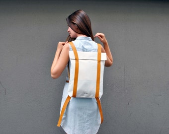 Personalized backpack, canvas leather minimalist backpack, water resistant bag, custom rucksack 201