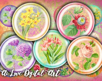 Instant download cabochon, Victorian Flowers digital collage sheet circle 16mm, 18mm, 20mm bottlecap images vintage ephemera, jewelry making