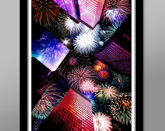 Straight Up Fire Works - Fine Art Photography - 13x19 or 24x36 Inches - Home Decor