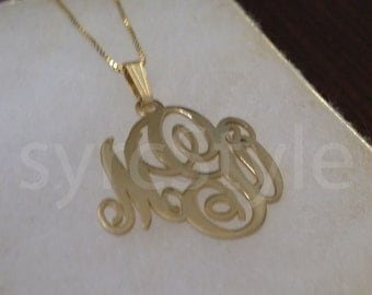 Custom 24K Gold Plated Small Monogram Necklace . 3 Initial Monogram . Personalized Monogram Necklace . Free Shipping