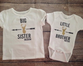 Sibling Deer Hunting Matching Set Brothers Sisters Personalized Shirts