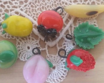 Lot of 7 Vintage Glass Fruit Beads Lemon, Apple, Peach, Banana, Orange, Raspberry and Leaf.