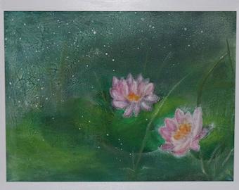 Mixed media - original art - lily pond