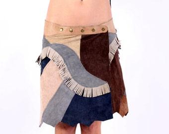 Pixie Leather Skirt,Gypsy Skirt,Festival Clothing,Hippie Skirt,Boho Skirt,Psytrance,Goa,Burning Man,Bohemian,tribal,Gift For Her,elf  Skirt.