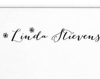 Personalized Name Stamp, Custom Calligraphy Rubber Stamp, Tag Stamp, Wood Handle or Self Inking