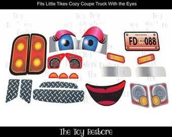 Fire Truck girl NL : New Replacement Decals Stickers for Little Tikes Tykes Cozy Coupe Truck with Eyes
