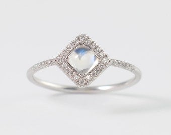 Halo Moonstone Ring,Rainbow Moonstone Engagement Ring in 14k White Gold,  One-Of-A-Kind Engagement Ring, Fine Jewelry