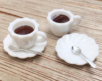 2 Sets Miniature Coffee Cup,Miniature Coffee Cup with Spoon,Miniature Coffee,Dollhouse Sweet,Miniature Coffee,Dollhouse Coffee set