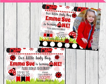 Lady Bug Personalized birthday invitation- ***Digital File*** (LadyBug-01)