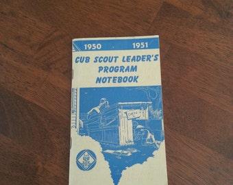 Vintage 1950 - 1951 Cub Scout Leaders Program Notebook