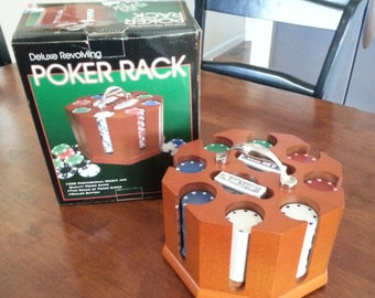 Vintage 1950's - 60's  Poker Chip Carousel W/handle / Made With Cherry Wood