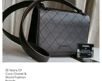 Sale !Free Ship-Vintage Chanel Calf Leather Brown shoulder handbag , classic in pristine condition reduced from Usd 1399