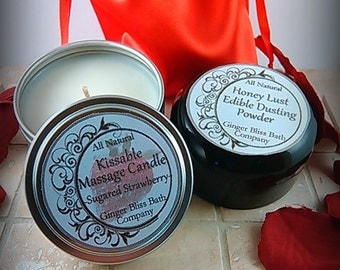 Gift Set- Edible Massage Candle & Honey Powder- Bride, Couples Gift, Lickable, Bachelorette, Naughty, Valentine's Day, Anniversary, Erotic