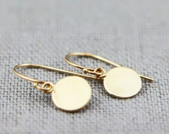 Solid 14K Gold Earrings | Polished Solid 14K Gold Disc Earrings 6mm 7mm 8mm 9mm 10mm