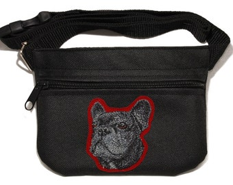Embroidered dog treat waist bag. Breed - French Bulldog (black). For dog shows and training. Great gift for breed lovers.