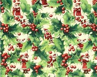 Holly Santa in Berry, Winter Miracle Collection by Marjolein Bastin for Free Spirit Fabrics 4103