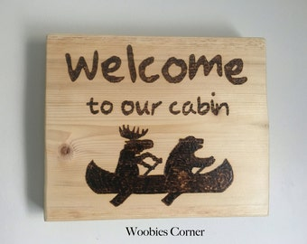 Cabin sign, Welcome to our cabin, personalized camping signs, wildlife silhouette, lake sign, cottage sign, wood burned sign