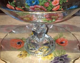 Vintage Glass Cake Stand. Vintage Glass Stand. Vintage Glass . Cut glass candlestick. Cake Stand. Afternoon Tea Stand. Vintage Wedding.