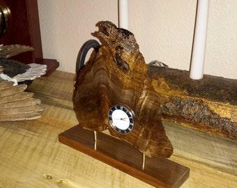 Walnut with purpleheart burl desk clock.