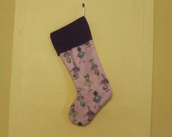 Purple ballerina lined christmas stocking