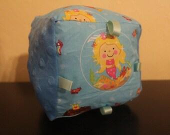 Blue mermaid fabric baby block/crinkle/rattle/sensory toy