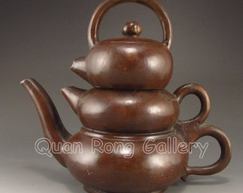 Vintage Chinese Bronze 3 Layer Teapot