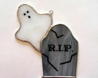 Handmade Stained Glass Tombstone/Gravestone/Headstone with Ghost Suncatcher