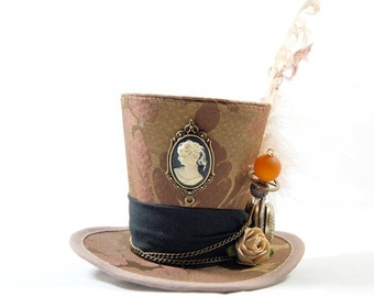 Steampunk mini Hat Brocade - cameo + Pocket Watch - Fascinators - headpiece