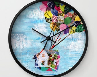 Up House clock, Wall clock, Mother's day gift, Wanderlust, Adventure is out there, decorative clock mixed media collage art