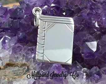Book Charm, Book Pendant, Flat Book Charm, Book Lover Gift, Reader Charm, Librarian Charm, Sterling Silver Charm
