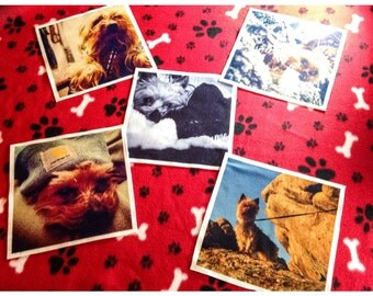 Customized Sublimated Quilt Squares on polyester fleece (best for use with other fleece fabric projects)