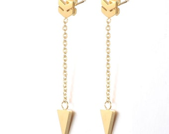 Cupid's Arrow Chain Drop Earrings