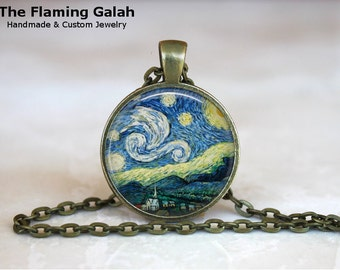STARRY NIGHT Pendant •  Van Gogh Stars •  Van Gogh Night Sky •  Van Gogh Landscape •  Made in Australia •  (P0046)
