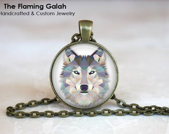 WOLF Pendant •  Geometric Wolf's Head •  Grey Wolf Face •  Geo Wolf • Gift Under 20 • Made in Australia (P0316)